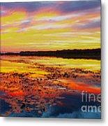 Glowing Skies Over Crews Lake Metal Print