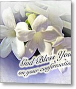 God Bless You On Your Confirmation Floral Greeting Card Metal Print