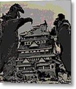 Godzilla And King Kong Hanging Out In Tokyo Metal Print