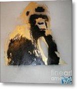 Gold Back Gorilla Metal Print