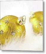 Gold Balls With Feathers Metal Print