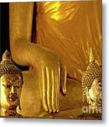 Gold Buddha Figures Metal Print