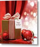 Gold Christmas Gift Box And Ornaments With Sparkle Lights  Metal Print