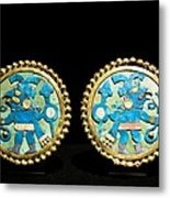 Gold Ear Ornaments, Moche Florescent Metal Print by Tony Camacho