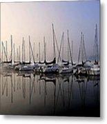 Gold N Blue Sailboats Too Metal Print