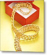 Gold Necklace Metal Print
