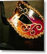 Gold Scroll Masquerade Mask Metal Print