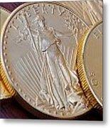 Golden Coins II Metal Print