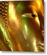 Golden Face Of Buddha Metal Print