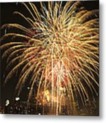 Golden Fireworks Over Minneapolis Metal Print by Heidi Hermes