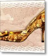 Golden Floral Royalty Shoe Metal Print