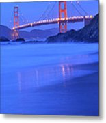 Golden Gate At Dusk Portrait Metal Print