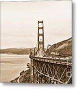 Golden Gate Bridge In Sepia Metal Print