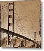 Golden Gate Bridge Sepia Metal Print
