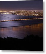Golden Gate Bridge With Moonlit Reflections Metal Print