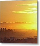 Golden Horizon At Sunset, Los Angeles Metal Print by Eric Lo