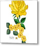 Golden January Rose Metal Print
