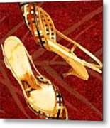 Golden Lattice Slingbacks On Royal Red Carpet Metal Print