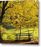 Golden October - Bench And Yellow Trees In Fall Metal Print