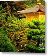 Golden Pavilion Temple In Kyoto Glowing In The Garden Metal Print