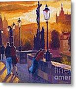 Golden Prague Charles Bridge Sunset Metal Print by Yuriy  Shevchuk