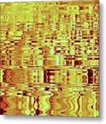 Golden Ripples Abstract Metal Print