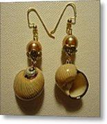 Golden Shell Earrings Metal Print