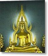 Golden Sitting Buddha Metal Print