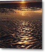 Golden Sunset On The Sand Beach Metal Print by Setsiri Silapasuwanchai