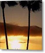 Golden Twin Palms Sunset Metal Print
