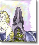 Golden Unicorn By The Sea Metal Print