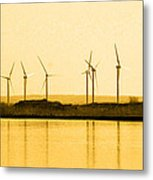 Golden Windmills Metal Print