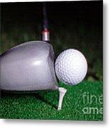Golf Club Hitting Ball Metal Print