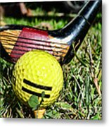 Golf - Tee Time With A 3 Iron Metal Print