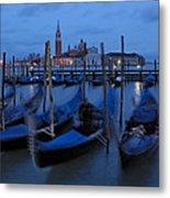 Gondolas At Dusk In Venice Metal Print