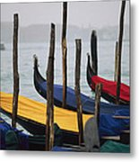 Gondolas At Harbor On A Misty Day Metal Print