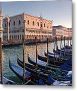 Gondolas Docked Outside Of Piazza San Metal Print
