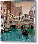 Gondolas On The Canal - Impressions Metal Print