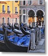 Gondolas On The Canal Metal Print