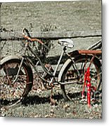 Good Ole Times Bike And Hand Pump Metal Print