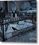 Gothic Surreal Night Gargoyle And Ravens - Moonlit Cemetery With Gargoyles Ravens Metal Print