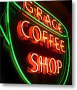 Grace Coffee Shop Neon Metal Print