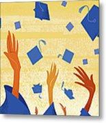 Graduates Throwing Graduation Hats Metal Print