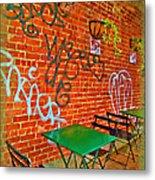 Grafitti Dining Metal Print by Joan  Minchak