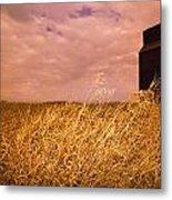 Grain Elevator And Crop Metal Print