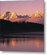 Grand Teton Mountains With Silhouetted Metal Print