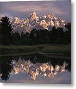 Grand Teton Range And Cloudy Sky Metal Print