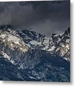 Grand Tetons Immersed In Clouds Metal Print