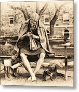 Granny Sitting On A Bench Knitting Ursinus College Metal Print