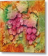 Grapes With Rust Background Metal Print